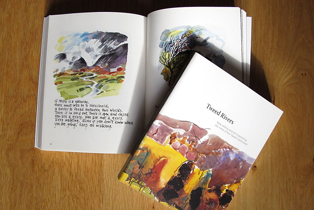 A paperback book entitled 'Tweed Rivers', with another copy open at a page showing watercolour illustrations and a poem.