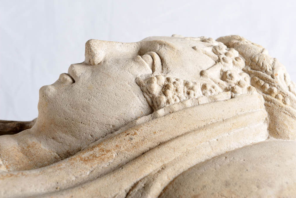 A stone effigy of the Duchess of Argyll.