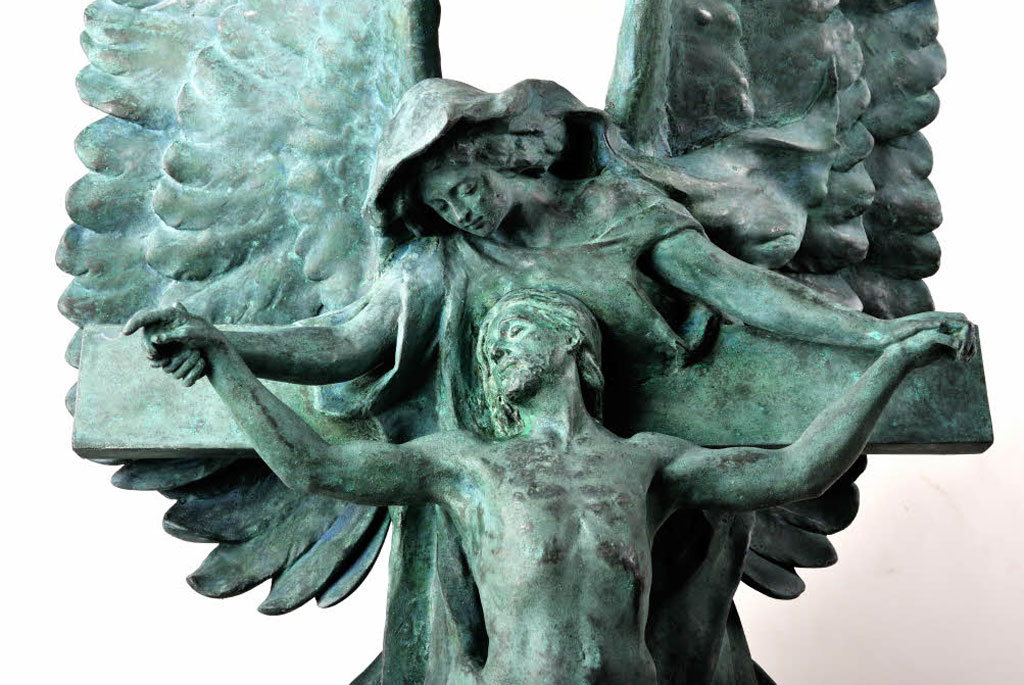 A bronze sculpture by Princess Louise, Duchess of Argyll (1848 - 1939) of an angel lifting Christ from the cross. From the Argyll Mausoleum, Kilmun, Argyll.