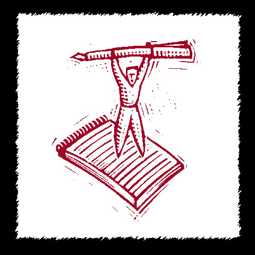 A woodcut-style illustration of a figure standing on a note pad, holding a pen aloft in triumph.