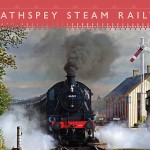 The front cover of the Strathspey Railway guide, showing a steam locomotive.