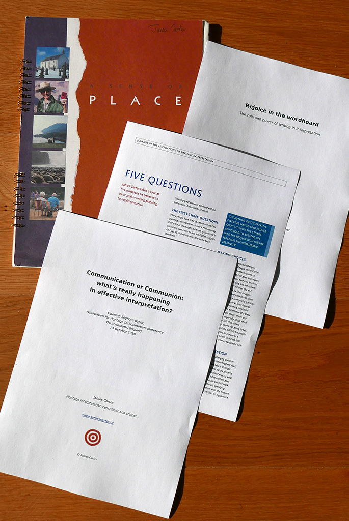 A selection of papers by James Carter about heritage interpretation.